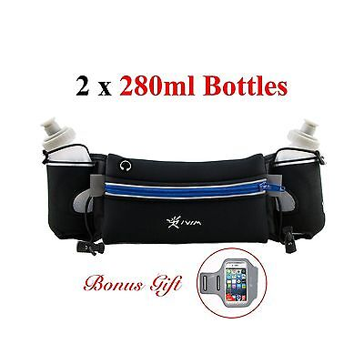 Hydration Belt for Runners with Water Bottles (2 x BPA-free 10oz) /Runnin... New