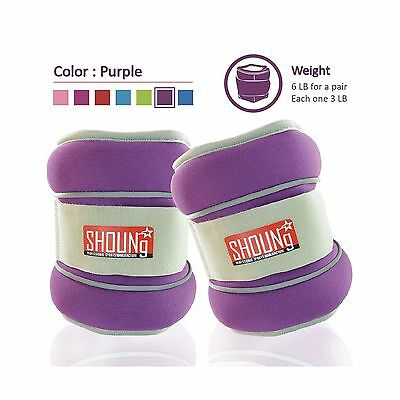 SHOUNg Reflective Ankle Weights/Wrist Weights with Adjustable Strap (Purp... New