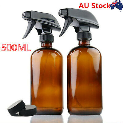 16oz Refillable Amber Glass Spray Bottle Trigger Sprayer Essential Oil Container