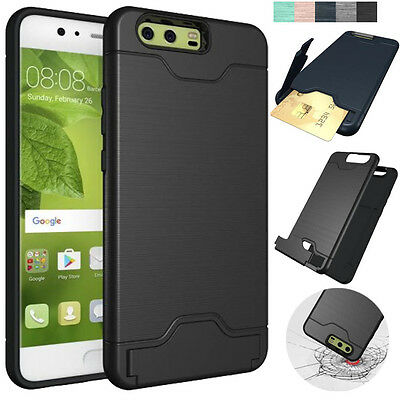 For Huawei P10/Plus Phones Protective Case Card Slot Brush Finished Armor Cover