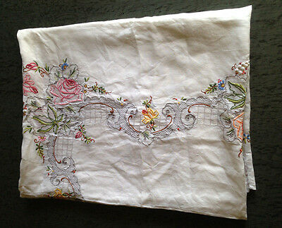 Vintage Large Hand Embroidered Linen Tablecloth - Floral Flowers 216 cm x 175 cm