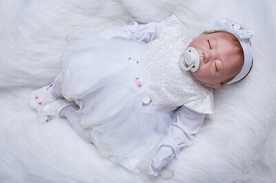 "Reborn Baby Doll 20"" White Dress Lifelike Silicone Realistic Real Life Doll Gift"