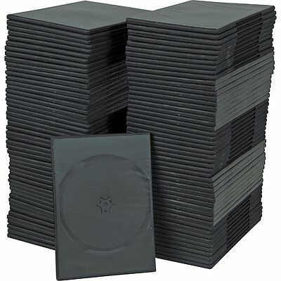 7mm Slim Single Black DVD Cases 100 Pack