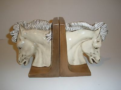 Vintage White Horse Head Ceramic Bookends