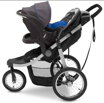 Jogging Stroller for Baby Grey Recline Padded Seat Compact Folding Toddler