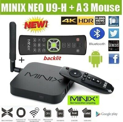 NEW MINIX NEO U9-H 4K HDR TV BOX Android6.0 HDMI Media Player with A3 Air Mouse