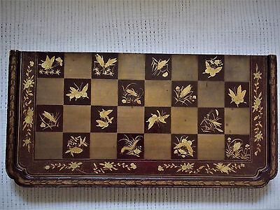 Exceptional early 19th Century Antique Chinese  Lacquer Chess Backgammon Board
