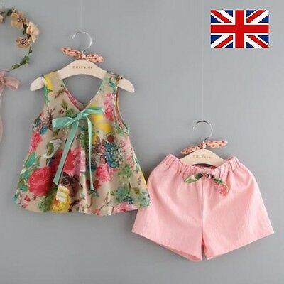 2pcs Kids Toddler Baby Girls Outfits Floral Clothes Shirt Tops Shorts Pants Set
