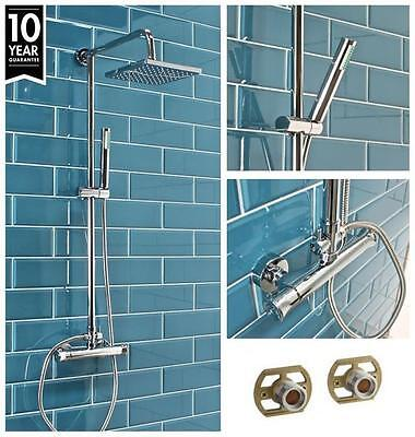 Modern Square Twin Head Thermostatic Shower Mixer Chrome Bathroom Exposed Valve