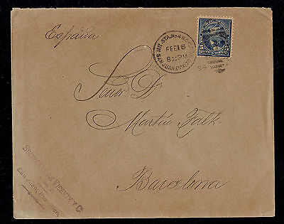 PUERTO RICO to SPAIN - 1899 COMMERCIAL Cover w MILITARY CANCEL & RECEIVER