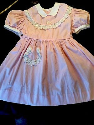 Vintage 50s Child Girls Doll pink Party Dress 3.or 4   fabulous detail.