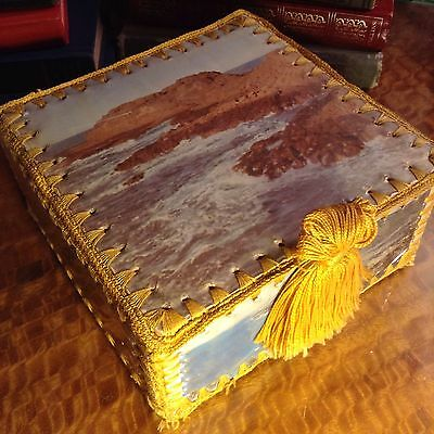 Retro Kitsch Square Vintage Sewing Craft Trinket Box Hand Made With Photos