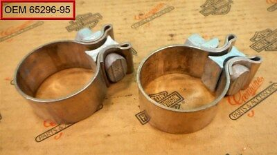 "TWO Genuine Harley 2"" OD 1 7/8"" ID & 1"" Wide Muffler Exhaust CLAMPS"
