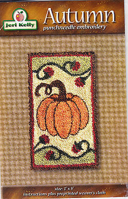 "Jeri Kelly punch neeedle embroidery pattern ""Autumn"" pumpkin and vines"