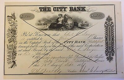 1854 City Bank Biddleford, Maine Stock Certificate Early and Rare!
