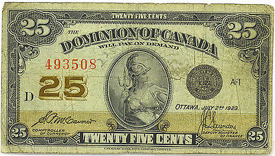 Dominion Canada 1923 25 Cents Shinplaster McCavour-Saunders no Authorized VG/F