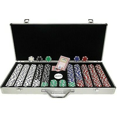 Trademark 650 11.5-Gram Dice-Striped Poker Chips in Aluminum Case