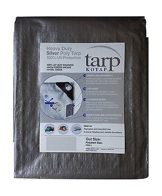 Kotap 9-ft x 12-ft Heavy-Duty 14 by 14 Cross Weave UV Blocking 10-mil Sil... New