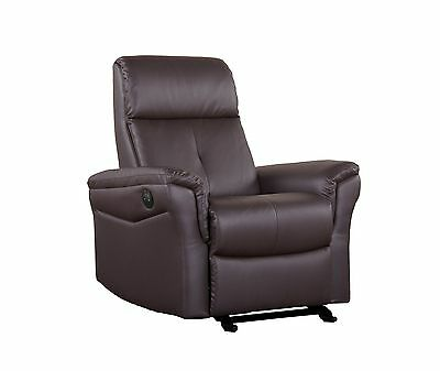 Shermag Glider with Push-Button Recline Brown Bonded Leather New