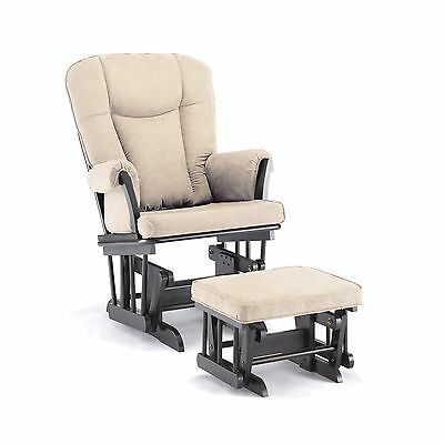 Shermag Stanton Transitional Style Glider Rocker and Ottoman Espresso wit... New
