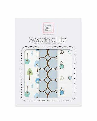SwaddleDesigns SwaddleLite Cute & Calm Lite (Set of 3 in Pastel Blue) New