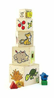 Hape Eco Animal Tower Stack and Nest Shape Sorting Cubes New