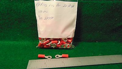 (1) Tyco 32950 100 Pack #6 Red Insulated Ring Lugs for #18 - #22 Wire NOS