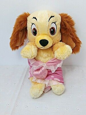 Disney World Theme Parks Lady & The Tramp Baby Lady In Blanket, Stuffed Plush