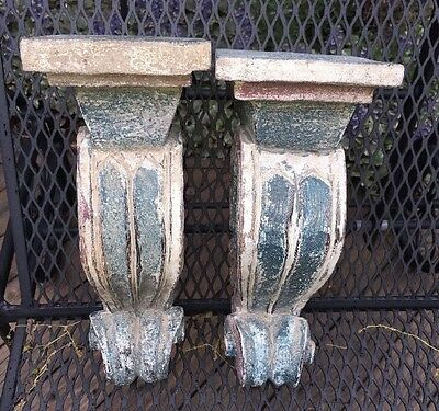PAIR HAND CARVED WOODEN CORBELS WALL SHELF BRACKETS Green Red Cream