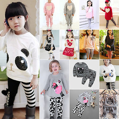 Kids Baby Girls Boys Outfits Clothes Set T-shirt Top + Long Pants Trousers Dress