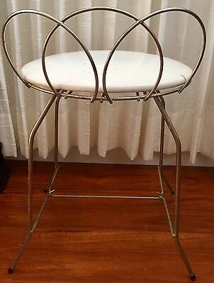 Antique Butterfly Wire Rod White Seat Ice Cream Parlor Chair Wire Mid Century
