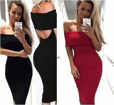 new ladies off the shoulder bardot backless party red black midi bodycon dress
