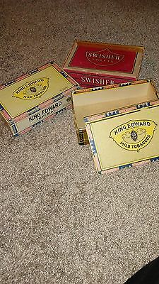 set of 3 cigar boxes king edward and swisher