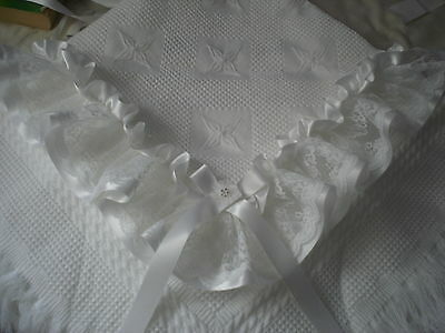 beautiful WHITE baby christening shawl