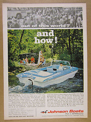 1965 Johnson Deluxe 17 Boat color photo OMC vintage print Ad