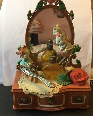 "RARE Enesco Naughty Mice On Lady's Vanity ""Small World"" Multi-Action Music Box"