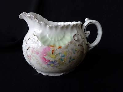 Gorgerous Antique Hand Painted Creamer - Small Pitcher - Pink & White Flowers