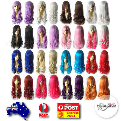 Long Wavy Cosplay Wig Curly Quality 80cm Party Costumes Fancy Dress Pink Blue..