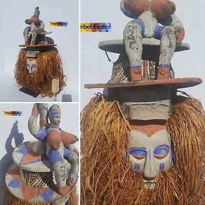 Bayaka Yaka Adulthood Initiation Mask Sculpture Statue Figure Fine African Art