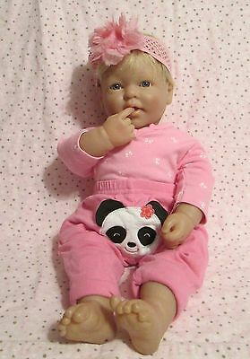 "Berenguer Boutique 20"" Realistic Blonde Hair Blue Eyes Reborn Baby Doll EUC"