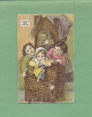 CHILDREN STUFFED IN BASKET On PYLE'S PEARLINE SOAP Victorian Trade Card