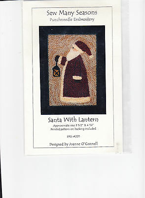 Sew Many Seasons  punch neeedle embroidery Santa with Lantern   Christmas
