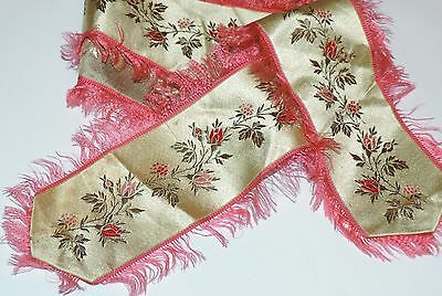 "Antique Victorian Fine Silk Ribbon Sash Rosebuds Pink Fringe 38"" by 2"" wide"