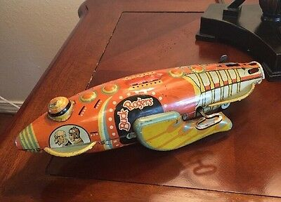 BUCK ROGERS 25th CENTURY SPACE ROCKET FIGHTER SHIP TIN WIND-UP MARX TOY - WORKS!
