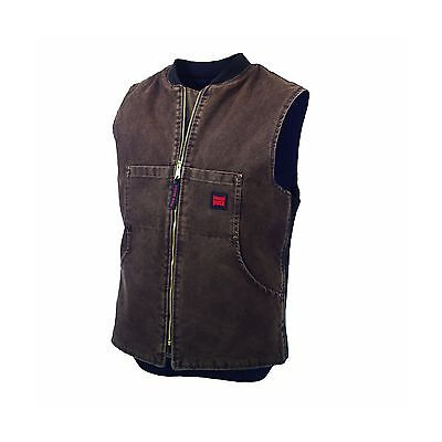 Tough Duck Men's Washed Quilt Lined Vest Chocolate Large New