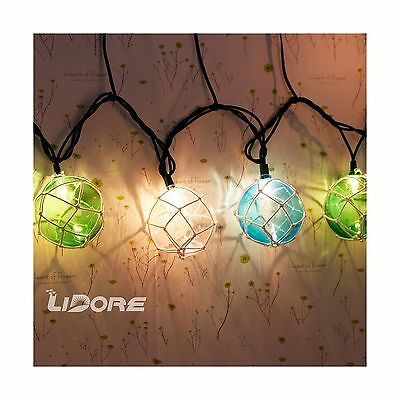 LIDORE Set of 10 Nautical Fishing Floats Coastal Buoy Beach Style String ... New