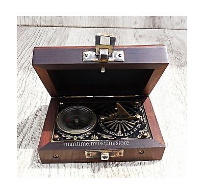4 Inch J.Scott Brass Pocket Beatiful Sundial Compass In Fix Wooden Box. C... New