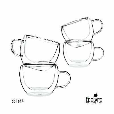 Universe Double Wall Glass Tea & Coffee Espresso Cups Glasses Set of 4 - ... New