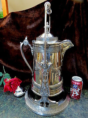 1889 Antique REED & BARTON Silverplate Tilting Water Pitcher PRESENTATION PIECE!