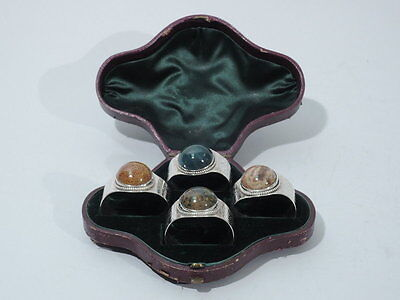 Victorian Napkin Rings - English Sterling Silver & Hardstone - 1867/69